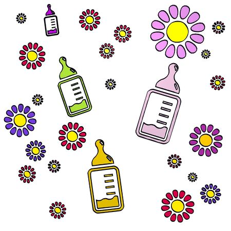 fantasize: happy spring flower hand drawn sketch of four baby food with creative flowers on white background