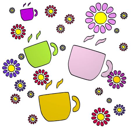 happy spring flower hand drawn sketch of four coffee with cute flowers on white background