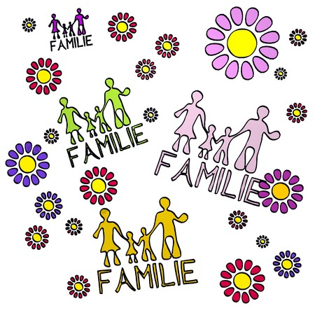 fantasize: happy spring flower hand drawn sketch of four Familie with fresh flowers on white background