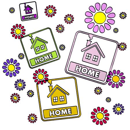 fantasize: happy spring flower hand drawn sketch of four home with fresh flowers on white background Stock Photo