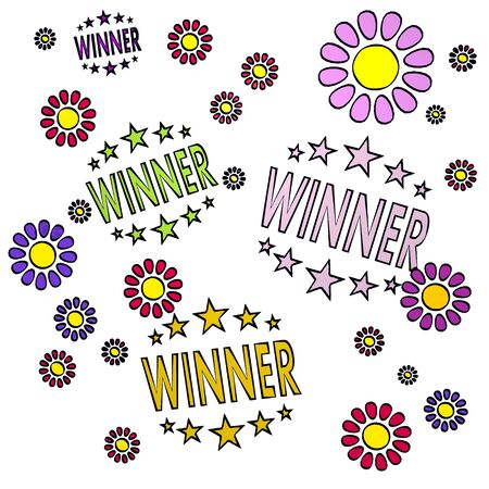 fantasize: happy spring flower hand drawn sketch of four winner with artistic flowers on white background Stock Photo