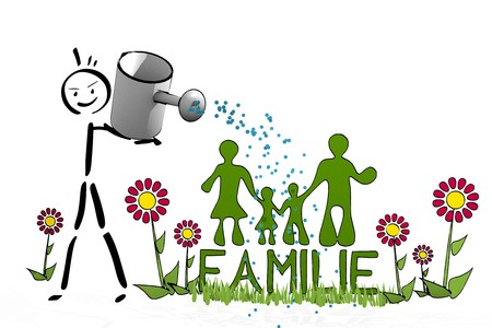 a hand drawn stick man waters a Familie with eco flowers on white background photo