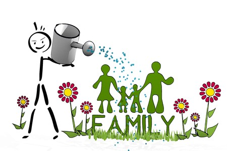 a hand drawn stick man waters a family with scribble flowers on white background photo