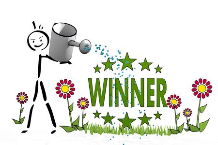 a hand drawn stick man waters a winner with eco flowers on white background photo