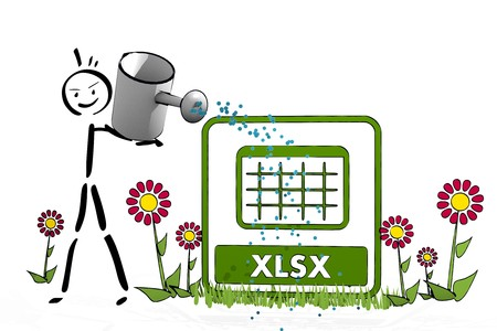 a hand drawn stick man waters a xlsx with cute flowers on white background Stock Photo - 27777847