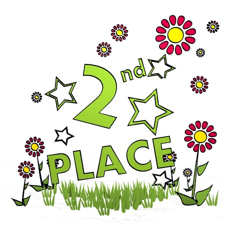 fantasize: spring flower hand drawn sketch of 2nd place with childish flowers on white background Stock Photo