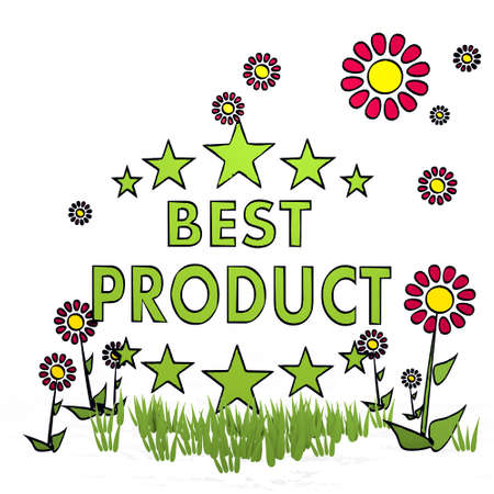 spring flower hand drawn sketch of best product with simple flowers on white background Stock Photo