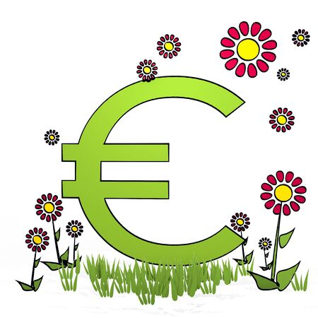 fantasize: spring flower hand drawn sketch of  Euro with eco flowers on white background