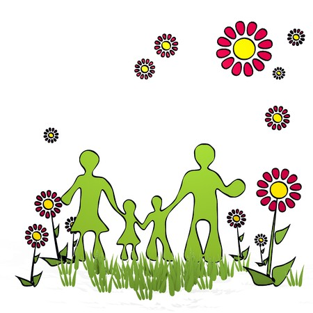 fantasize: spring flower hand drawn sketch of family with cute flowers on white background Stock Photo