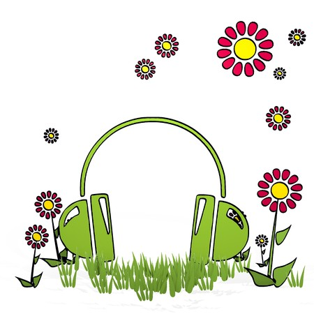 spring flower hand drawn sketch of headphones with happy flowers on white background