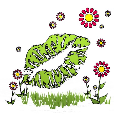 spring flower hand drawn sketch of kiss with happy flowers on white background Stock Photo