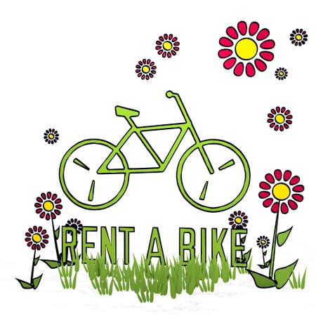 spring flower hand drawn sketch of rent a bike with fresh flowers on white background Stock Photo