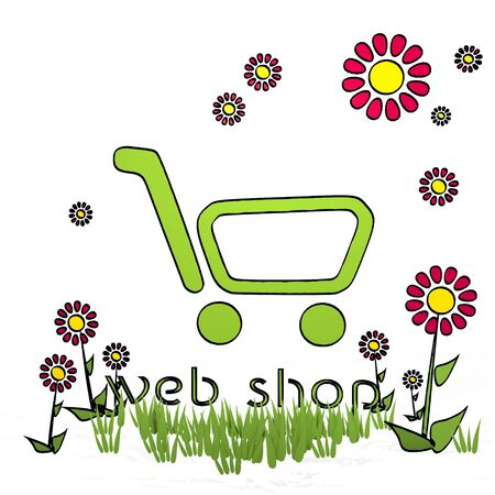 spring flower hand drawn sketch of web shop with childish flowers on white background