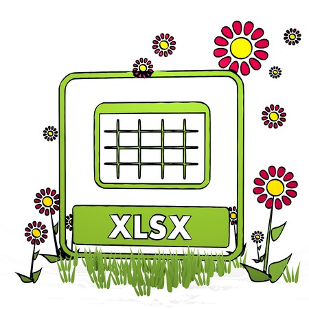 spring flower hand drawn sketch of xlsx with cute flowers on white background