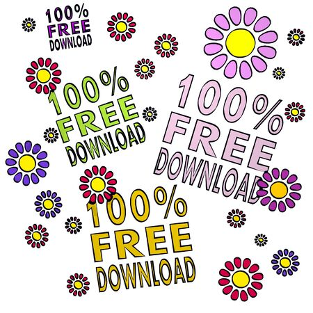 four 100 percent free download with happy flowers on white background Stock Photo