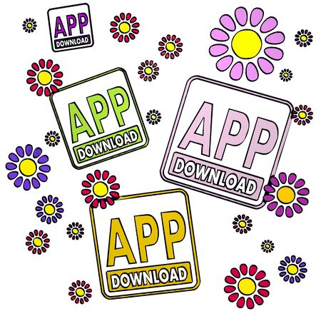 four app download with artistic flowers on white background Stock Photo