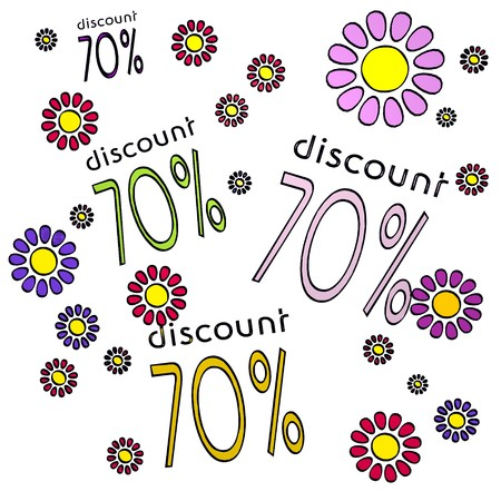fantasize: four 70% discount with scribble flowers on white background Stock Photo