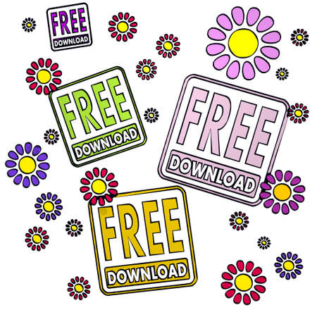 fantasize: four free download with childish flowers on white background