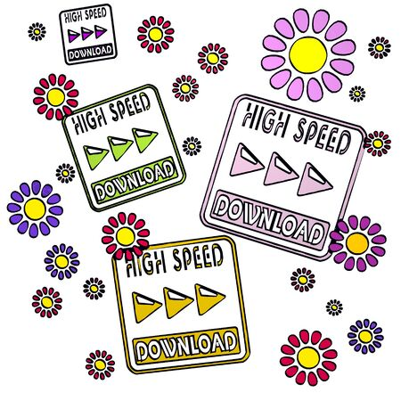 high speed: four high speed download with fresh flowers on white background Stock Photo