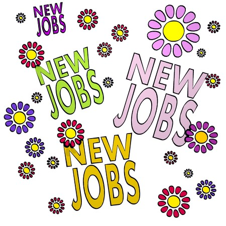 four new jobs with eco flowers on white background
