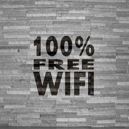 Pastel gray  free interior 3d graphic with stylish 100 percent free wifi label  on noble stone texture photo