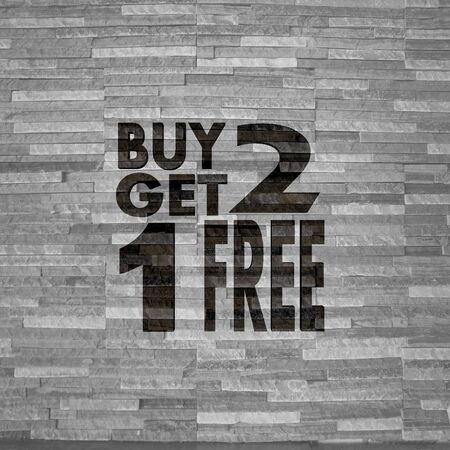 get one: Pastel gray  creative decoration 3d graphic with creative buy two get one free symbol  on noble stone texture