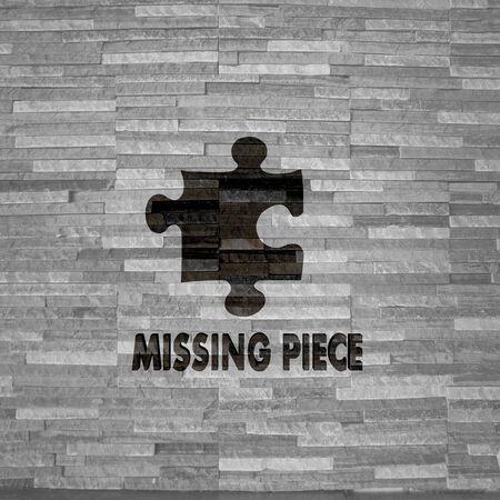 missing piece: Pastel gris creativo �ltima pieza gr�fica 3d con etiqueta creativa pieza que falta en el noble textura de piedra