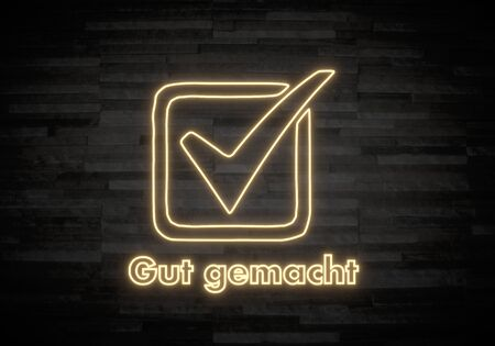 gut: Pastel gray  perfect ok 3d graphic with elegant gut gemacht german for well done sign on classy stone wall Stock Photo