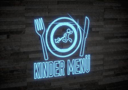 kinder: Pastello grigio chiaro esclusiva grafica 3d con men� creativo kinder (menu per bambini tedeschi) simbolo sul muro di pietra di classe