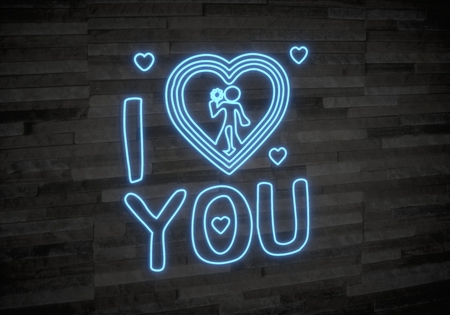 Pastel gray  childish light 3d graphic with creative I love you label on classy stone wall photo