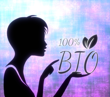 glaring: silhouette of a young girl presenting a glaring 100 percent bio on modern fresh pink blue background Stock Photo