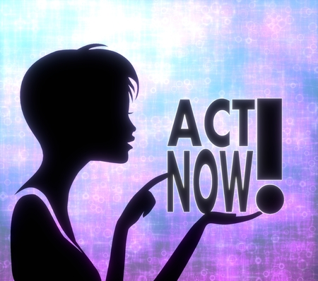 glaring: silhouette of a urgent girl presenting a glaring act now on modern fresh pink blue background