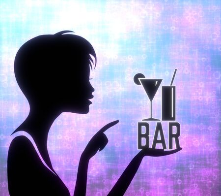 glaring: silhouette of a young girl presenting a glaring bar on modern fresh pink blue background