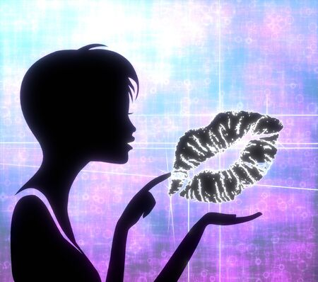 silhouette of a pretty girl presenting a glaring kiss on modern fresh pink blue background photo