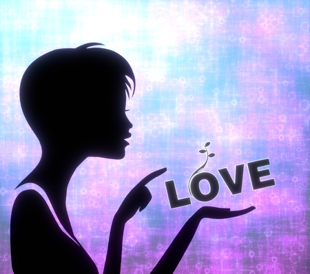 glaring: silhouette of a young girl presenting a glaring love on modern fresh pink blue background