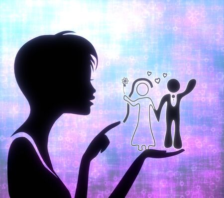 glaring: silhouette of a pretty girl presenting a glaring marriage on modern fresh pink blue background