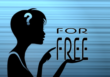silhouette of a best price woman presenting a free on stylish blue background photo
