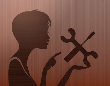 silhouette of a pretty woman presenting a mechanic on stylish background with brown lines photo
