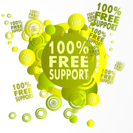 trendy art 100 percent free support symbol in front of a happ party art background with flying 100 percent free support icons isolated on white background