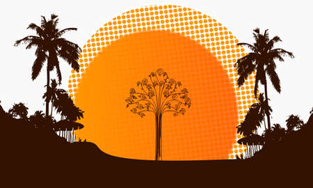 autumnn: illustration of a modern abstract tree symbol on a beach with rising sun and palm trees in the background