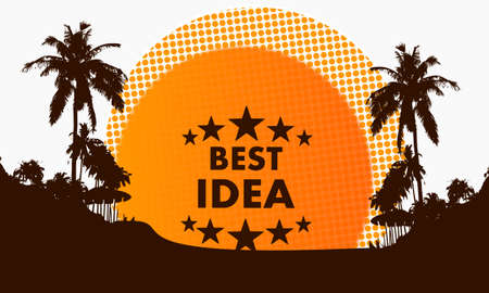 think tank: illustration of a modern best idea symbol on a beach with rising sun and palm trees in the background Stock Photo