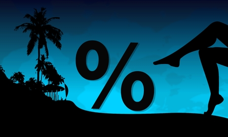 percent symbol on a beach with sexy woman legs and palm trees on blue night background