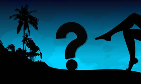 unresolved: question symbol on a beach with sexy woman legs and palm trees on blue night background