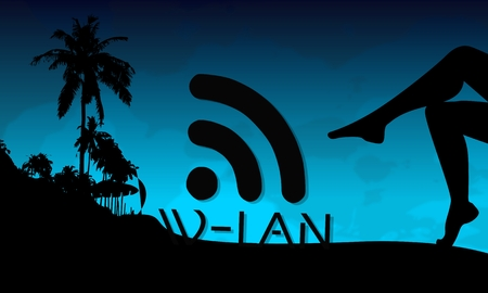 wlan: wlan symbol on a beach with sexy woman legs and palm trees on blue night background