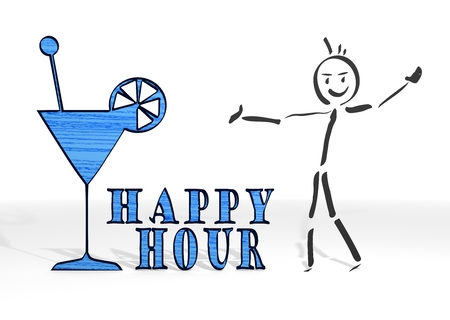 scribble stick man presents a happy hour symbol white background photo