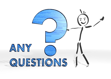 any: hand drawn stick man presents a question sign white background
