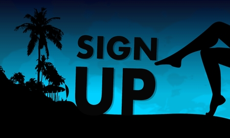 legs up: sign up symbol on a beach with sexy woman legs and palm trees on blue night background
