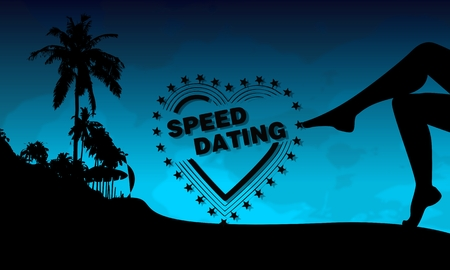 speed dating: speed dating symbol on a beach with sexy woman legs and palm trees on blue night background