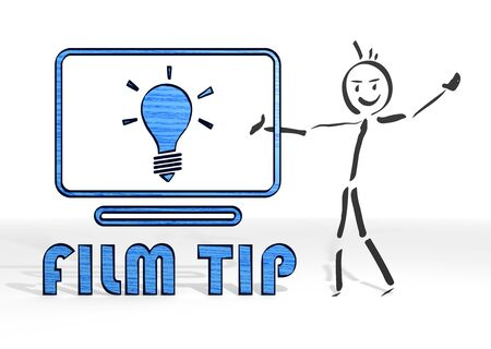 critique: simple stick man presents a film tip symbol white background