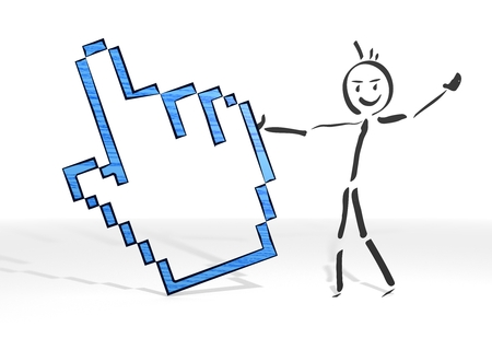 muse: hand drawn stick man presents a muse pointer sign white background